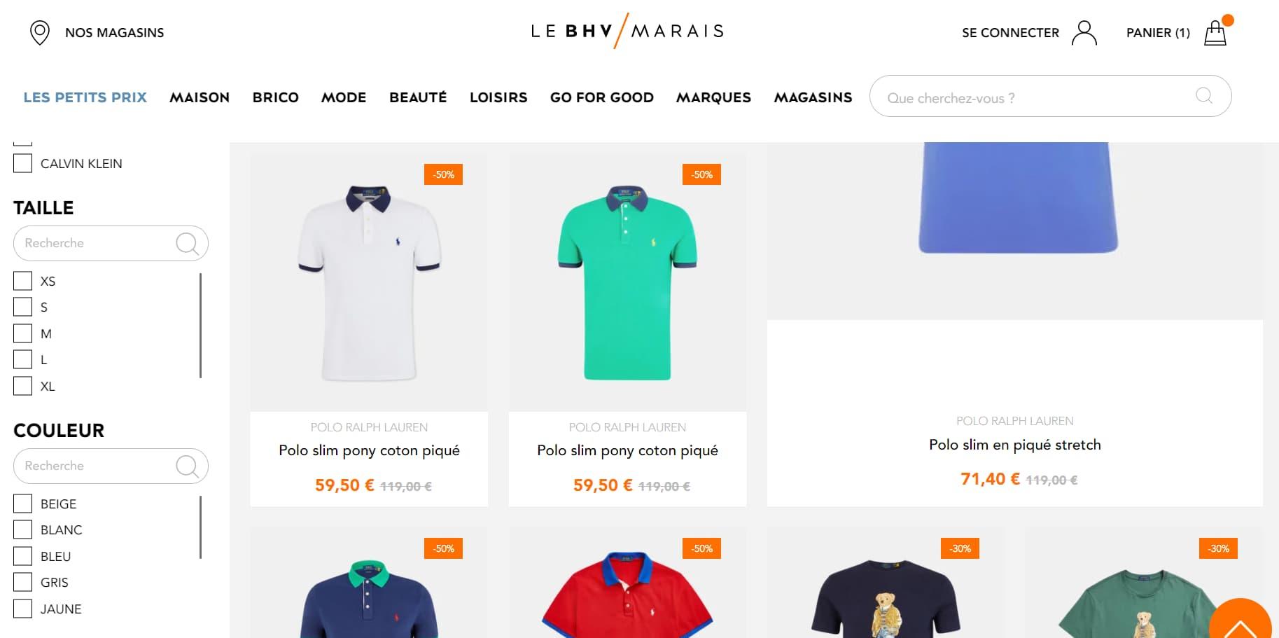Capture écran du site BHV.fr